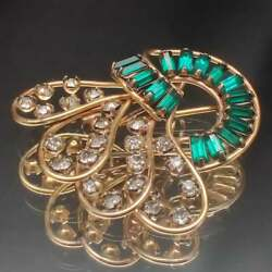 Vintage Harper Baguette Green Emerald And Diamond Brooch Pin 14k Yellow Gold Over