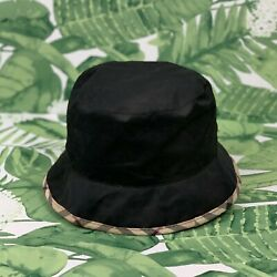 Burberry London Black Bucket Hat w Plaid Detail Brim and Lined Interior $124.99