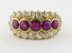 Antique Victorian 14k/18k 1.10ct Diamond 0.75ct Ruby Band Ring