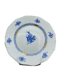Nwt Herend Porcelain Chinese Bouquet Blue Dessert Plate