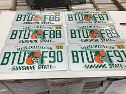 6 Florida License Plates Sunshine State Consecutive Numbers As Pictures Expired