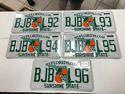5 Florida License Plates Sunshine State Consecutive Numbers As Pictures Expired