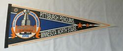 1991 Pittsburgh Penguins V Minnesota North Stars Stanley Cup Nhl Pennant