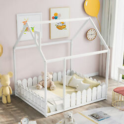 Full Size Wood Bed House Bed Frame With Fence For Kids Teens Girls Boys Us Store