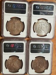 Toned Morgan Silver Dollar Lot Of 4 Coins Ngc Ms63 1882,1886,1897 And 1898 All P