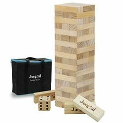 54 Pieces Giant Tumble Tower Blocks Wood Stacking Game W/ 1 Dice Set Canvas Bag