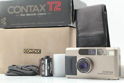 [mint In Box] Contax T2 Titan Silver Point And Shoot 35mm Film Camera Case Japan