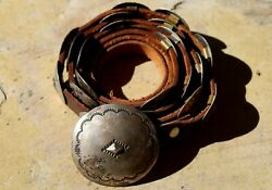 Old Pk Work Abaiyachi Choctaw Sterling Silver Concho Belt 21 Conchos And Buckle