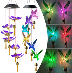 Solar Power Led Wind Chimes Andbells Color-changing Night Light Handing Lamp Decor