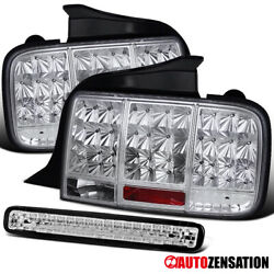 For 2005-2009 Ford Mustang Clear Lens Led Sequential Tail Lights+3rd Brake Lamp
