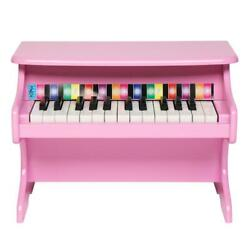 Kids 25 Key Wooden Learn-to-play Mini Piano W/ Key Note Stickers Music Book Pink
