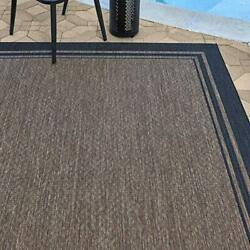 21359 Outdoor Rug Freedom Collection 8x10 Large Border Black Nut Brown