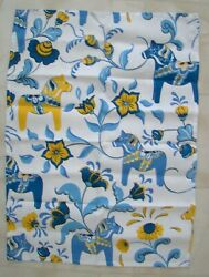 Swedish Dala Horse And Flowers Blue And Yellow Design Towel 18 X 25
