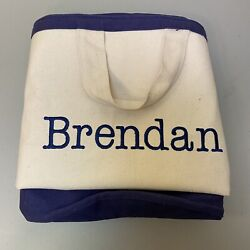 """Pottery Barn Kids Tote Bag White Blue 24"""" Wide 20"""" Tall Extra Large Toy BRENDAN $18.99"""