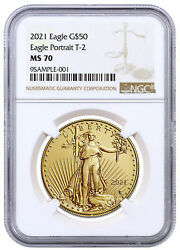 2021 1 Oz Gold American Eagle Type 2 50 Ngc Ms70 Brown Label Delay