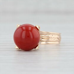 Vintage Precious Oxblood Red Coral Ring 10k Yellow Gold Size 6.5 Floral Band