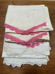 Vintage Feedsack Pillow Cases With Crochet Trim - Lot Of 4 - Handmade With Flaws