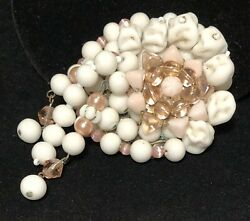 """Rare Vintage 3"""" Early Miriam Haskell Milk Glass Pink Bead Dangle Brooch Pin A34"""
