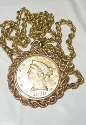 14k Solid Gold Pocket Watch 20 Chain 1880 5 Us Liberty Coin Twisted Bezel Fob