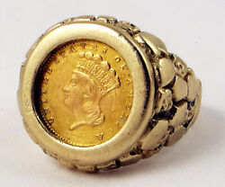 1862 1 Gold Indian Princess Coin 14k Solid Gold Nugget Ring Size 10 12.53 Grams