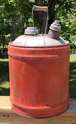 Vintage Red Galvanized Steel Gasoline Can Cap And Spout Bail Handle Canco 5 Gal