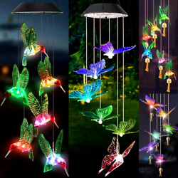 Solar Wind Chimes Lights Led Color Changing Hanging Butterfly Hummingbird Bells