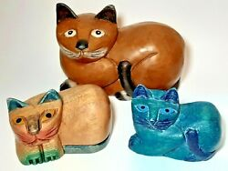3 Vintage Wood Cat Figurines ☆ Pier 1 Collectibles ☆ Thailand ☆ 4 To 6.75 L
