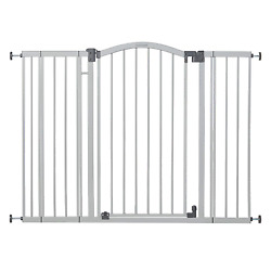 """Extra Tall Wide Safety Baby Gate Cool Gray Metal Frame 38"""" Tall Baby Or Pet Gate"""