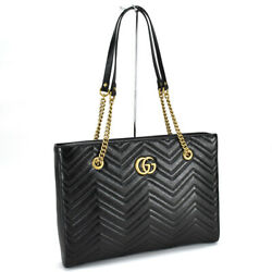 Gg Marmont Quilting Chain Tote Bag Shoulder 524578 Leather Black Antique
