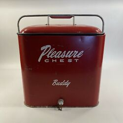 Vintage 1950s Original Pleasure Chest Cooler Buddy Coke Red Ice Chest