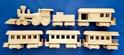Vintage Handmade New 1984 Wooden Toy Train Large Scale Set 6 Piece Genuine Wood