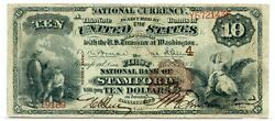 Fr. 479 1882 Bb 10 Ch 4 National Bank Note Stamford Connecticut Fine