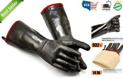 Heat Resistant Bbq Grilling Oven Insulated Cooking Gloves Fireproof 14in Handler