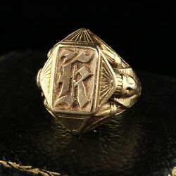 Antique Art Deco Bailey Banks And Biddle Egyptian Revival 14k Gold Signet Ring