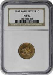 1858 Flying Eagle Cent Small Letters Ms62 Ngc