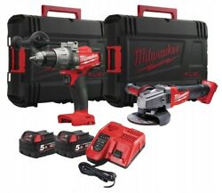 Milwaukee Drill Driver + Angle Grinder 2 5ah Batteries + Charger