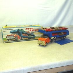 Vintage Marx Tin Auto Transport Truck + 12 Cars In Box, Friction Toy, Original