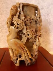 Antique Soapstone Carving, Birds And Flowers Carved Soapstone Vase