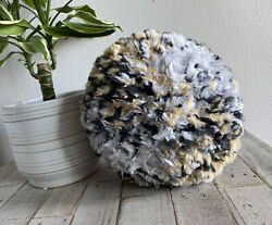 Round Handmade Chunky Knit Pillow, 11inx6.5in, Soft, Snow Leopard, New