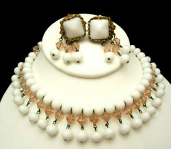 Rare Vintage Signed Miriam Haskell Milk Glass Pink Crystal Necklace Earring Set