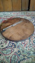 Antique Primitive Old Walnut Wood Double Sided Round Cutting Board 12 Patina