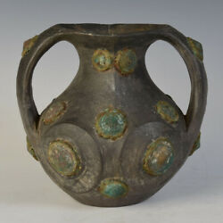 Han Dynasty, Rare Antique Chinese Pottery Amphora Decorated With Bronze Ornament