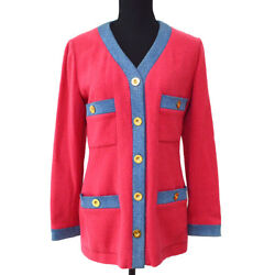 Vintage Cc Logos Button Long Sleeve Jacket Pink 40 Authentic Y03366f
