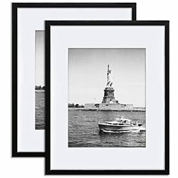 Picture Frame Black Poster FrameDisplay Pictures 11x14 with Mat or 16x20 2