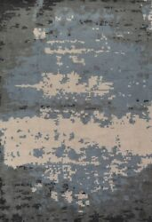 Abstract Modern Oriental Area Rug Hand-knotted Living Room Large Carpet 10and039x14and039