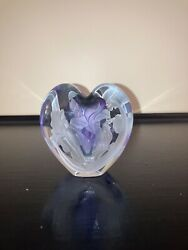 Phyllis Polito Heart Shaped Purple Perfume Bottle Flower Etched Glass Blown 1993