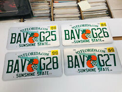 4 Florida License Plates Sunshine State Consecutive Numbers As Pictures Expired