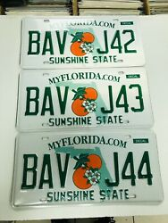 3 Florida License Plates Sunshine State Consecutive Numbers As Pictures Expired
