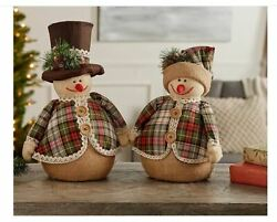 Valerie Parr Hill Set Of 2 Country Snowmen With Hats And Plaid Coats