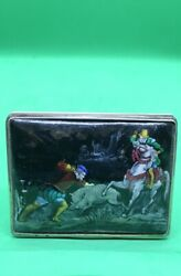 Antique 18th Century Ra French Enamel Solid Silver Hand Painted Snuff Box Case
